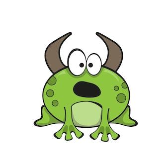황소 개구리 만화 캐릭터입니다. 화이트에 재미 있는 벡터 일러스트 레이 션