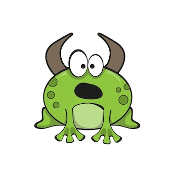 Bullfrog cartoon character. funny vector illustration on white
