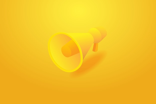 배경 노란색 및 홍보 광고 확성기에서 물러나