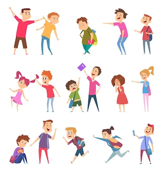 Bullied characters. school kids conflict social problems of stressed people scared emotions vector cartoon illustrations
