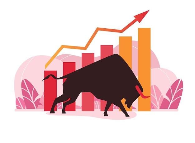 Дизайн иллюстрации диаграммы бычьего роста акций
