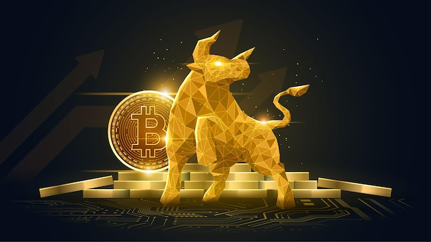Bullish trend of bitcoin crypto currency in golden futuristic concept