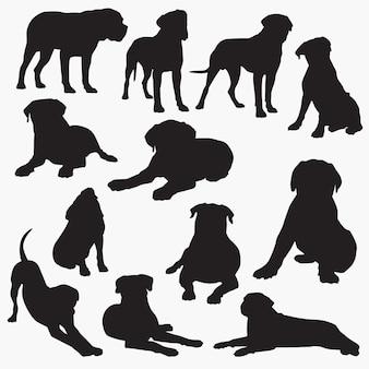 ブルマスティフ犬のシルエット