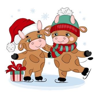 Бычки 2021 катание на коньках милый новый год с рождеством мультфильм праздник картинки векторные иллюстрации