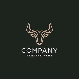 Шаблон дизайна логотипа стильной линии головы быка