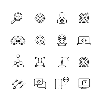 Bullseye, customer focus and targeting line  icons