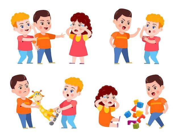 괴롭히는 아이. 만화 나쁜 아이 싸움과 우는 소녀를 조롱. 언어적 및 신체적 괴롭힘. 유치원 벡터 세트의 문제 행동 어린이. 공격적인 소년은 아이들을 화나게 하고 장난감을 부수고