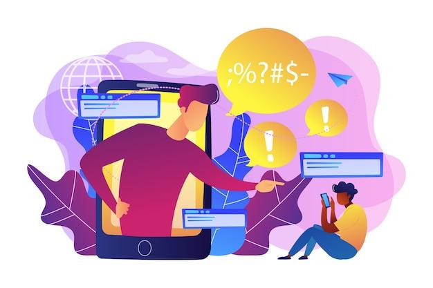 스마트 폰의 괴롭힘은 온라인에서 화난 피해자를 괴롭 히고 위협하고 위협합니다. 사이버 괴롭힘, 온라인 홍수, 소셜 네트워크 괴롭힘 개념.