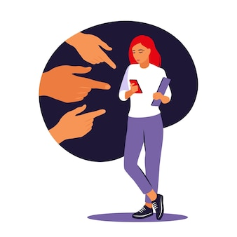 Bullying concept. opinion and the pressure of society. shame. hands of people point to the girl. non-confident woman. vector. flat