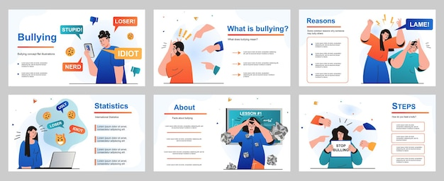 Bullying concept for presentation slide template people suffer from abuse and problems at school
