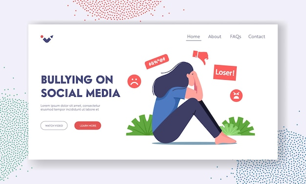 Bullying harassment in social media landing page template. female character sitting with covered face crying after being bullied and called nasty names, abuse. cartoon people vector illustration