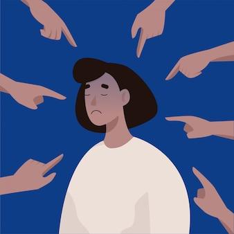 職場でのいじめや屈辱。嫌がらせの若い動揺女性被害者。フラットスタイルのイラスト。