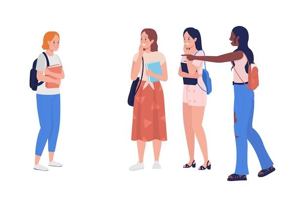왕따 십 대 소녀 반 평면 컬러 벡터 문자입니다. 서있는 인물. 흰색에 전신 사람들입니다. 그래픽 디자인 및 애니메이션에 대한 십대 문제 격리 현대 만화 스타일의 그림