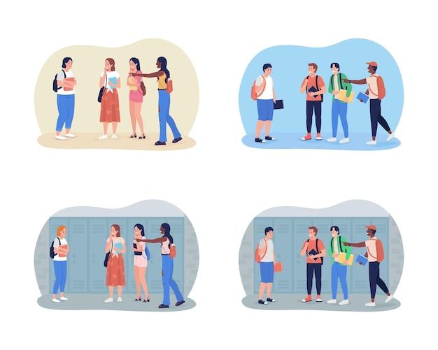 Bullying teenagers at school 2d isolated illustration set. peer pressure.