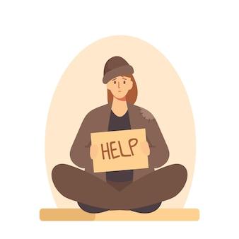 땅에 앉아 돈을 구걸하는 누더기 옷을 입은 부랑자, 배너를 들고 있는 노숙자 여성, 도움이 필요함, 실업자