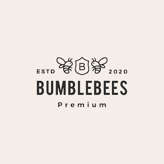 Bumble bee coat of arms hipster vintage logo icon illustration