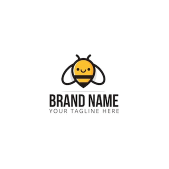 Bumble bee honey hive logo template icon