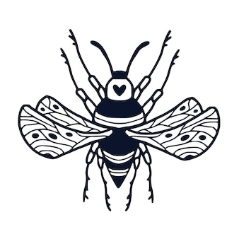 Bumble bee illustration in ornamental style for tattoo or t-shirt design. kids interior print with hand drawn black and white bee.