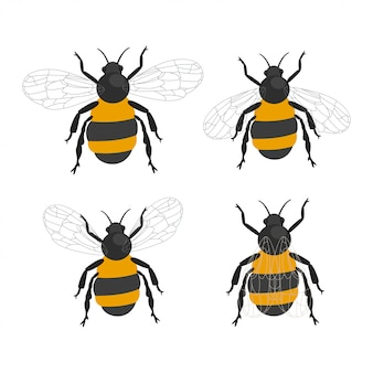 Bumble bee insects vector cartoon flat set isolated