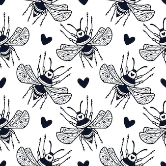 Bumble bees and cute hearts seamless pattern in ornamental hand drawn style. block print textile design with black and white bees.