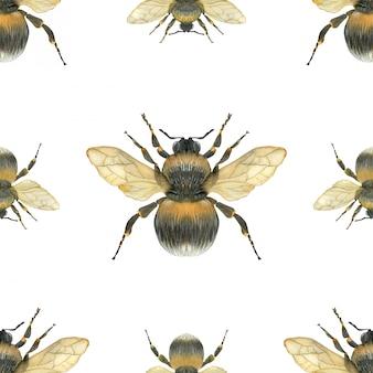 Bumblebee seamless pattern
