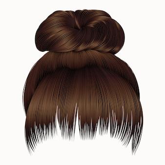 Пучок волос с бахромой темно-коричневого цвета. женская мода стиль красоты. Premium векторы