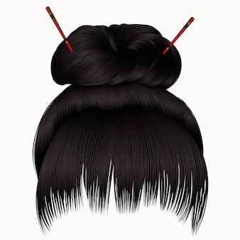Волосы булочки с бахромой темной брюнетки. женская мода стиль красоты.