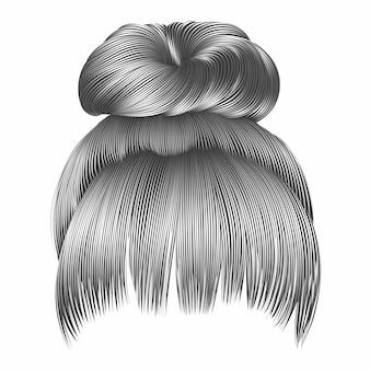 Волосы пучка с бахромой серого цвета.