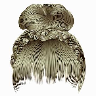 Булочка с косичкой и бахромой. волосы русые светлых тонов.