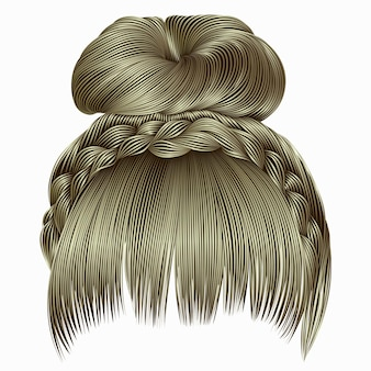 Bun with plait and fringe.  hairs blond light colors.