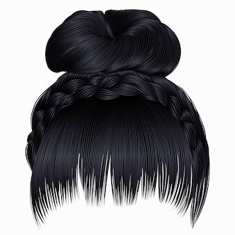 Пучок с косичками черного цвета
