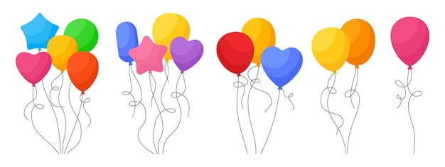 Bunch balloon birthday colored cartoon set rainbow glossy helium air balloons bunches party