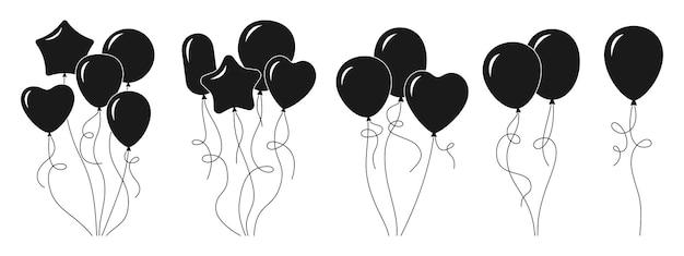 Bunch balloon cartoon black glyph set silhouette helium air balloons birthday or valentines day