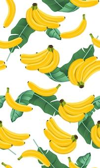 Bunch banana seamless pattern with banana leaves