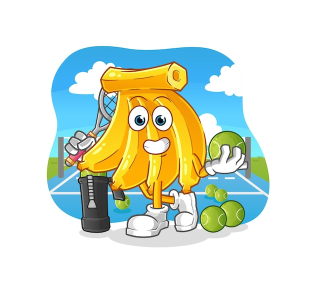 Bunch bananas plays tennis illustration. cartoon mascot mascot