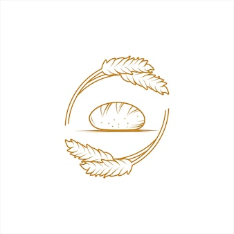 Bunch bread logo and wheat vector