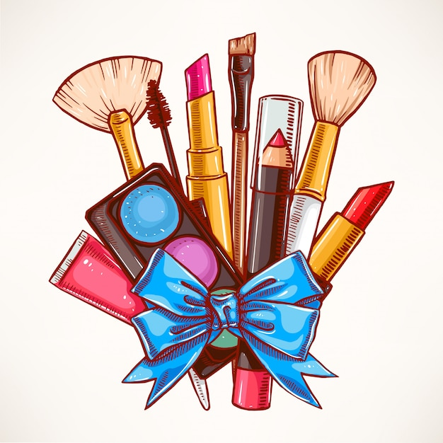 Bunch of decorative cosmetics tied with blue ribbon