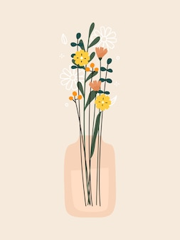 Bunch of flowers vase and plants print vector illustration