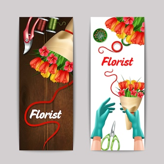 Bunch of flowers with florist text and equipment banner set isolated