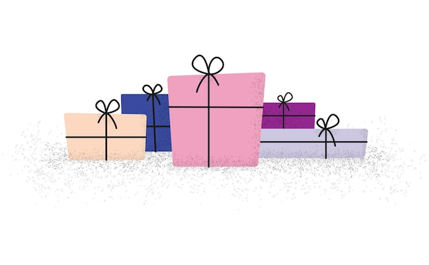 Bunch of gift boxes with ribbon and bow in flat with modern spotted dots brush shadow style,   illustration