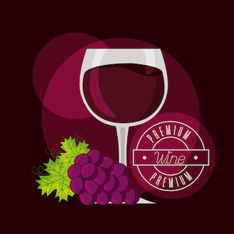 Гроздь винограда, бочка и винная чашка