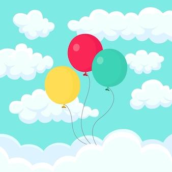 Bunch of helium balloon, air balls flying in sky