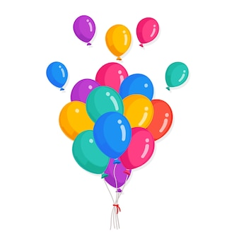 Bunch of helium balloon isolated on white