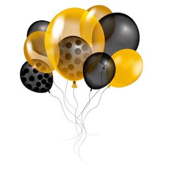 風船の束。カラフルな風船の飛行メガセット。誕生日、記念日、お祝い、イベントのパーティー装飾。