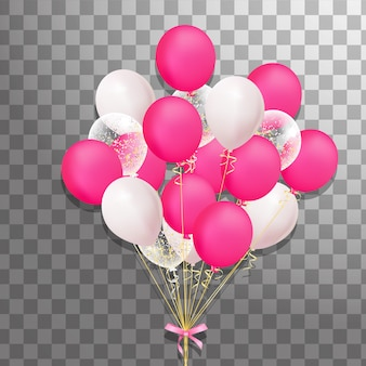 分離されたカラフルなヘリウム風船の束。イベントデザインのフロストパーティーバルーン。誕生日、記念日、お祝いのパーティーの装飾。