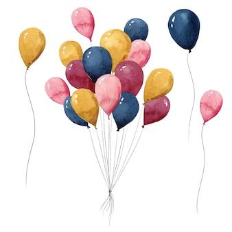 다채로운 헬륨 풍선 수채화 그림의 무리