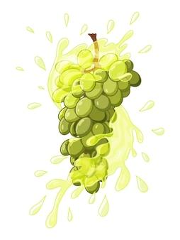 Гроздь винограда в сочной всплеске. рисованные объекты. стиль каракули. изолированные на белом.