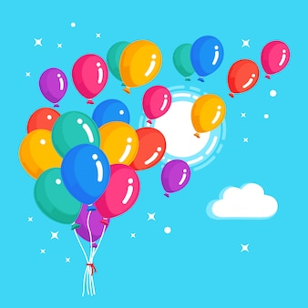 ヘリウム風船の束、空を飛んでいる空気球。お誕生日おめでとうコンセプト。漫画