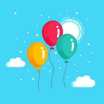 Букет из гелиевого шара, воздушные шары, летящие в небе. концепция с днем рождения