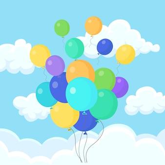 ヘリウム気球の束、空を飛んでいる空気球。お誕生日おめでとう、休日。パーティーの装飾